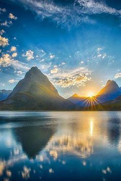 ponderation: Sunset at Glacier by Miles Smith Sunset over Swiftcurrent Lake looking at Mt. Grinnell (slightly left of center) in Glacier National Park, Montana. Beautiful Photos Of Nature, All Nature, Science And Nature, Beautiful Sunset, Nature Pictures, Beautiful Landscapes, Beautiful World, Beautiful Images, Beautiful Things