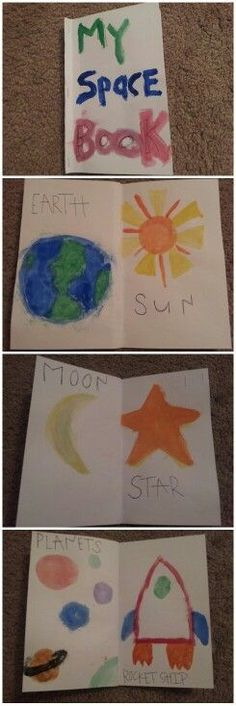 space word book but with color pages instead of paint.preschool space word book but with color pages instead of paint. 20 ideas for a Fabulous Outer Space Party Space Activities For Preschoolers, Space Theme Preschool, Space Activities For Kids, Kindergarten Activities, Preschool Activities, Outer Space Crafts For Kids, Space Classroom, Space Words, Outer Space Theme