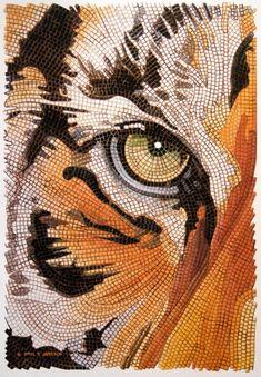 Tiger Tiles, watercolor by Paul JacksonShop Tiger Tiles Tiger Face Mosaic Watercolor Postcard created by PaulJacksonart. Dot Art Painting, Mandala Painting, Mandala Art, Paul Jackson, Watercolor Postcard, Mosaic Portrait, Mosaic Animals, Mosaic Artwork, Cute Animal Drawings