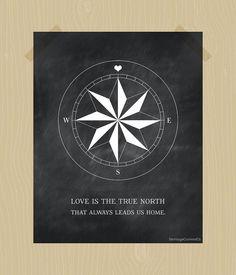 Compass Print True North Love Quote Printable Digital Print 8 x 10 Chalkboard Print Nursery Printable Blackboard Print White Family Print