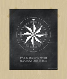 Compass Print True North Love Quote Printable by HeritageCurrentCo, $10.00