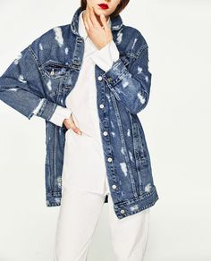 Image 2 of LONG DENIM JACKET from Zara