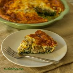 This low carb spinach mushroom cheese quiche is quick and easy to prepare when you don't have a lot of time for dinner. Can be made with or without a crust.