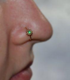 Items similar to Emerald Flower NOSE RING // Gold Nose Piercing - Tragus Hoop - Forward Helix Earring - Daith Earring - Septum - Cartilage Ring 18 gauge on Etsy Cartilage Ring, Daith Earrings, Ear Piercings Tragus, Conch Earring, Nose Ring Stud, Nose Hoop, Gauges, Facial Piercings, Bridge Piercing