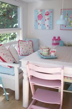 Pink and blue breakfast nook