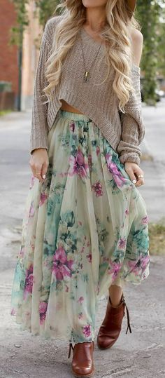 Mint Floral Maxi & Taupe ♡