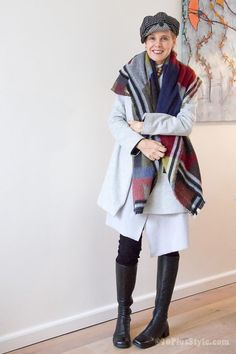How to wear a blanket scarf | 40plusstyle.com