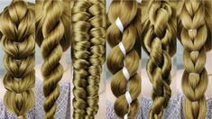 9 simple braids from only 2 strands. Very easy! 1 minute braids. - YouTube Casual Hairstyles, Modern Hairstyles, Cute Hairstyles, Braided Hairstyles, Beauty Bar, Hair Beauty, Long Hair Dos, New Haircuts, Great Hair