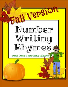 Enjoy this FALL version of the original Number Writing Rhymes. This version includes extra large single-digit cards (0-9), and mini-cards you could laminate, hole punch and place a ring in for students to take home and practice. And, if you copy this original, you will have a duplicate copy you could edit (on TeacherSherpa) for every season! It's simple!