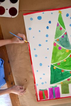 Giant christmas Tree painting - watercolor paintings by kids