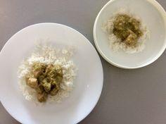Vepřové maso na pórku a hořčici, rýže