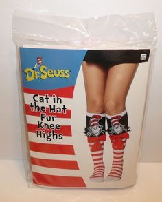 362fcdb30 Dr Seuss Cat in the Hat Fur Knee High Socks Adult Costume Accessory Cosplay  Bow