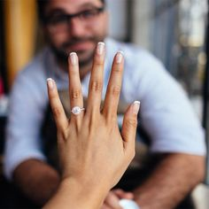 Best Engagement Ring Selfies: A French Manicure Selfie