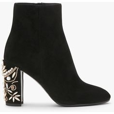 Suede ankle boots with pearls - FALL WINTER 2016 - COLLECTION (£755) ❤ liked on Polyvore featuring shoes, boots, ankle booties, black bootie, chunky heel booties, black booties, suede booties and suede boots