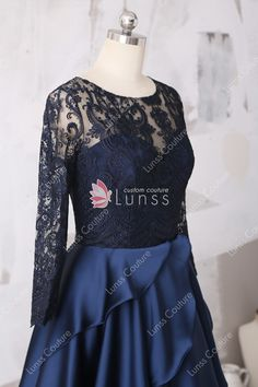 cf458608e Illusion Neckline Midnight Lace Long Sleeve and Layered Satin Evening  Formal Gown