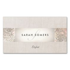 Elegant Striped Beige, FAUX Silver Sequin Monogram Business Card Templates. Make your own business card with this great design. All you need is to add your info to this template. Click the image to try it out!