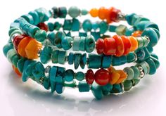 Turquoise and Coral bracelet by PINK OWL JEWELRY colorful jewelry, stone jewelry, rustic tribal bohemian fashion