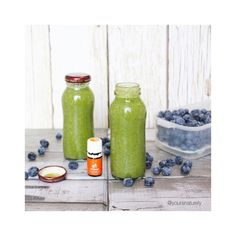 Reuse your glass bottles for smoothies-on-the-go! Added @vega_team plant based protein and #youngliving orange oil for this morning's post-workout green smoothie brunch