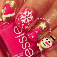 xmas nail art - snowman