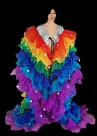 CHARISMATICO Flame ruffled iridescent white organza drag queen show time coat