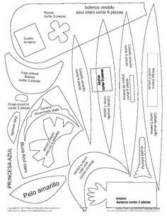 princesa azul Foam Crafts, Map, Dolls, Disney, Cool Crafts, Pens And Pencils, Tutorials, Baby Dolls, Feltro