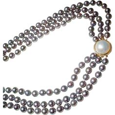 """Exclusive Blue Pearls Cultured Akoya Blue Pearl Necklace with Mabe White Pearl & 14 KT Yellow Gold Clasp - Triple Strands - 34"""" 36"""" & 38"""""""