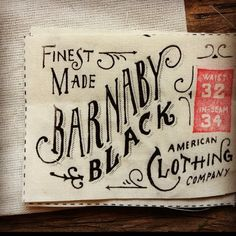 Cool clothing label by Jon Contino. #typography #lettering