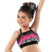 Girls' Ruffled Mixed Print Crop Top - Little Stars so cute for dance or gymnastics :)