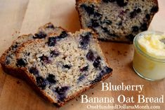 Blueberry Banana Oat Bread. This was delicious and satisfying and not too sweet. Next time I'll try it in a 9x9 pan--it spilled overflowed my largest bread pan. Keep leftovers in the fridge--it spoils quickly.