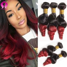 1B Burgundy Brazilian Body Wave Rosa Hair 3 Bundles Brazilian Virgin Hair  Ombre Human Hair Extensions Black Red Ombre Burgundy