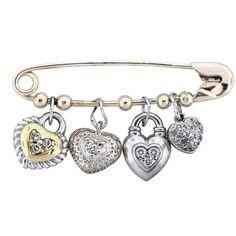Scott Kay Diamond Heart Charm Safety Pin