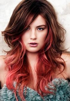 Funky Long Hairstyles | Pale red highlights on long medium brown hair for an edgy combination ...