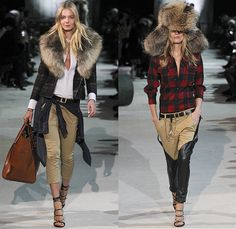 Dsquared2 2015-2016 Fall Autumn Winter Womens Runway Catwalk Looks - Milano Moda Uomo Collezione Milan Fashion Week Italy Camera Nazionale della Moda Italiana - Vintage Dirty Denim Jeans Jacket Fringes Studs Plaid Furry Blazer Chaps Parka Dress Sheer Ropes Shearling Boots Shirt Hoodie Leather Cap Cropped Pants Bag Multi-Panel Jodhpurs Trousers Lace Up Ushanka