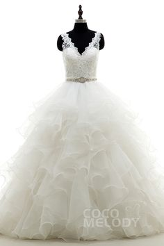Romantic A-Line V-Neck Natural Court Train Organza Ivory Sleeveless Open Back Wedding Dress Ribbons LWAT1503D