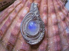 Rainbow Moonstone .925 Sterling Silver Heady Wire Wrap Pendant Dainty Mini #Pendant #headywirewrap #Moonstone