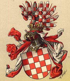 The Kingdom of Croatia (nearly identical to present Croatia) was created by King Koloman of Hungary in 1105, after he defeated the Croats. Ever since the territory was officially part of Hungary, even though a large part was under Turkish rule for many centuries. The arms first appear on a coin from King Ludwig II of Hungary from 1525. The origin of the arms is not clear. The arms are still used without helmet and crest by the Republic of Croatia