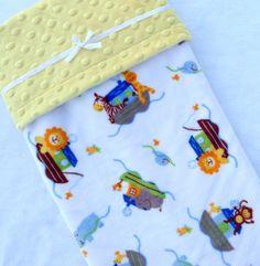 Arche bébé couverture - couverture jaune - couverture de bébé - bébé Minky couverture - sexe neutre arche de Noé - unisexe pour bébé couverture - doudous - bébé