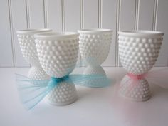 Vintage Westmoreland Milk Glass American Hobnail Double End Egg Cups----took me awhile to figure out what this was when I found it! Vintage Egg Cups, Vintage Dishes, Vintage Glassware, Egg Coddler, Eggs, Westmoreland Glass, Egg Art, Fenton Glass, Carnival Glass