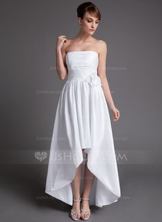 Wedding Dresses - $116.99 - A-Line/Princess Strapless Asymmetrical Taffeta Wedding Dress With Ruffle Flower(s) (002025837) http://jjshouse.com/A-Line-Princess-Strapless-Asymmetrical-Taffeta-Wedding-Dress-With-Ruffle-Flower-S-002025837-g25837