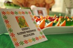 Muppet Party food. Kermit's Rainbow Connection Jello Slices
