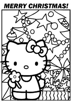 Hello Kitty Coloring Page Christmas Happiness