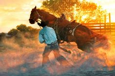 """Tim Cox Hand Signed and Numbered Limited Edition Print:""""When Horse Whispering Gets Loud"""""""