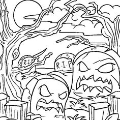 Halloween Coloring Pages Graveyard - Halloween, Halloween Coloring Pages On do Coloring Pages