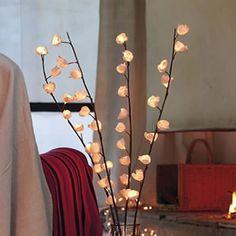 Branche lumineure (20€ nature & dec) + grand vase transparent