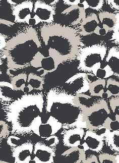 Tablecloth black white beige Raccoon Modern Decor by Dreamzzzzz