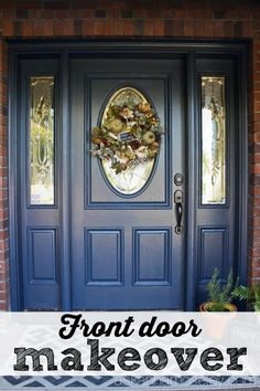 Valspar Royal Navy Front Door Makeover - Ask Anna Exterior Doors, House Entrance, Door Makeover, Victorian Front Doors, Front Door Decor, Front Door Makeover, Painted Front Doors, Exterior House Colors, Shutter Colors