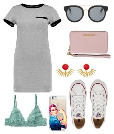 """Casual"" by maggiethequeen on Polyvore featuring MARA, Converse, Monki, Quay, Casetify, Ottoman Hands, MICHAEL Michael Kors and shirtdress"