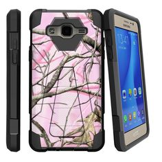 Galaxy On5 Case, SHOCK FUSION, High Impact Hybrid Case Kickstand - Pink Hunters Camouflage