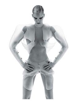 Mugler's white translucent silicone bodysuit and bolero. Nicola Formichetti