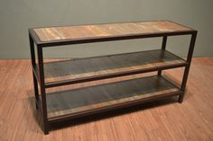 Rustic-Modern style Reclaimed Solid Metal and wood 3 Shelf Console Table / Sofa Table Hand Rubbed finish Metal frame and legs, furniture built to